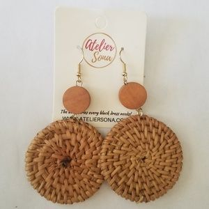 Round Rattan Straw Earrings